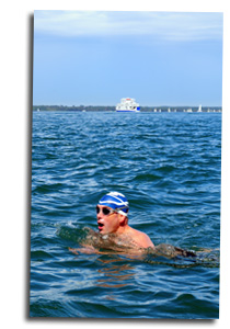Mike Laird swimming across the Solent